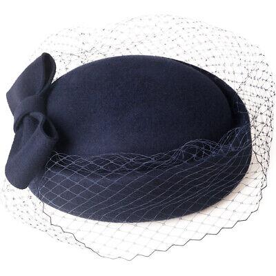 Ladies Felt Wool Fascinator Pillbox Wedding Bridal Beret Hat Headpiece CK013 6