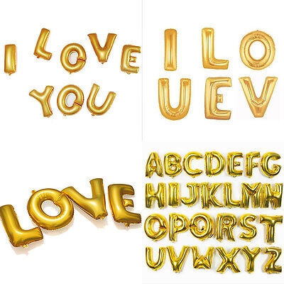 Gold Alphabet Letters Balloons Happy Birthday Party Decoration Aluminum Foil 4