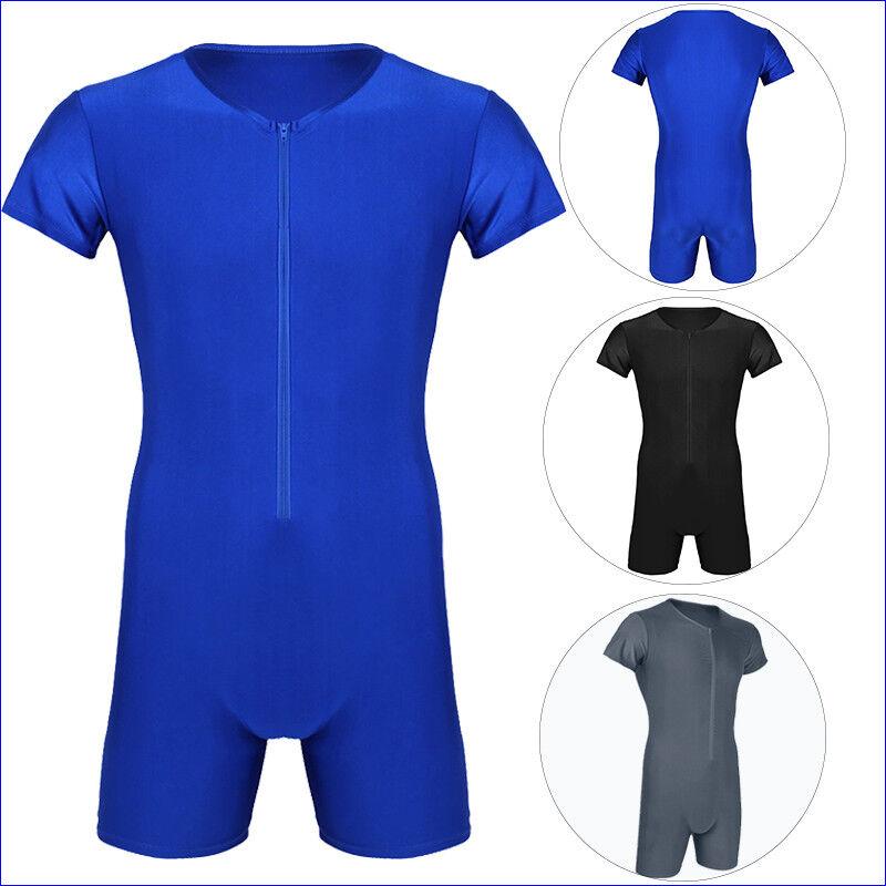 Herren Body Einteiler Zipper Overall Boxer Briefs Bodysuit Unterhemd mit Bein 2