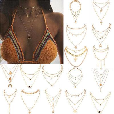 Boho Women Multi-layer Long Chain Pendant Crystal Choker Necklace Jewelry Gift 3