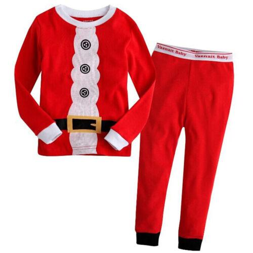 2Pcs Kids Boys Girls Christmas Pajamas Sleepwear Nightwear Xmas PJ's Outfits Set 6