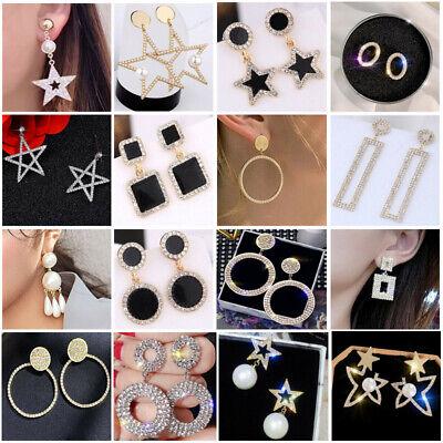 Women Metal Simple Geometric Circular Marble Drop Long Earrings Vintage Ear Stud 3