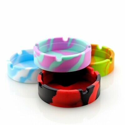 Glow in the Dark Silicone Round Ashtray Heat Resistant Camouflage Container Mini 12