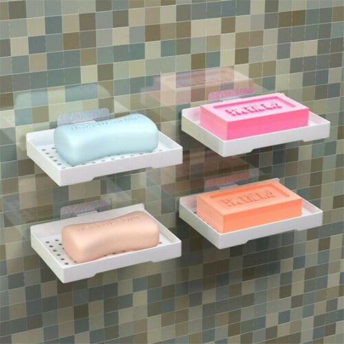 Self Adhesive Soap Holders Dish Plate Holder Rack Drainer Wall Mounted Tray D 3