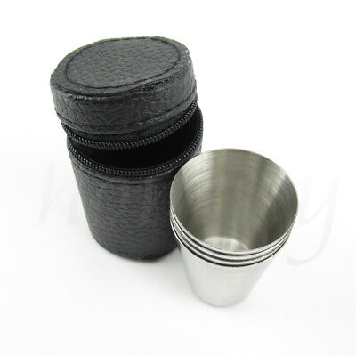 4pcs Camping / Travel Stainless Steel Shot Glass Set with PU Leather Case Cover 3
