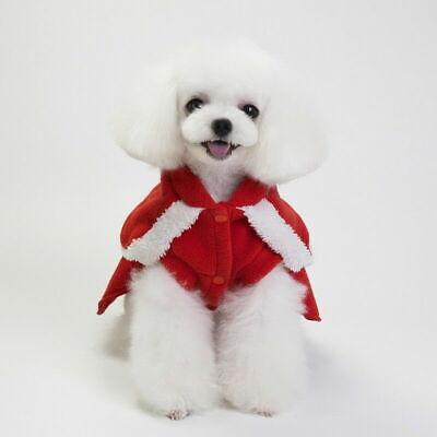 Cute Dog Puppy Christmas Santa Warm Costumes Coat Clothes Pet Apparel Shirt 7