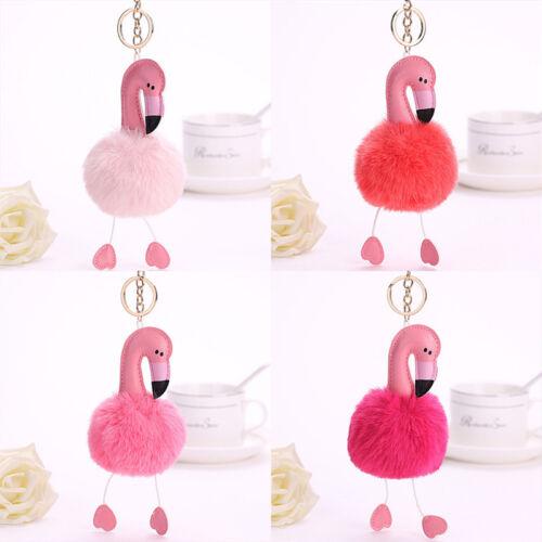 Lovely Flamingo Plush Toy Keychain Ring Pendant Soft Toy Key Ring WTUS