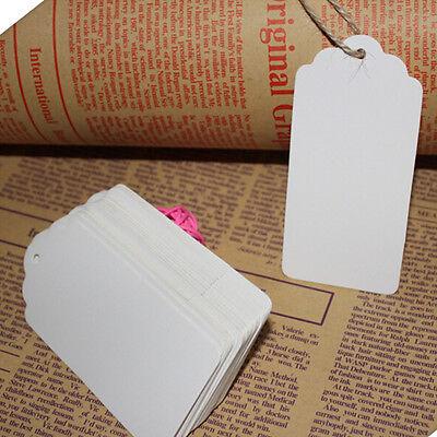 100 Pcs Kraft Paper Gift Tags Wedding Scallop Label Blank Luggage Tag 4*2cm UK 5