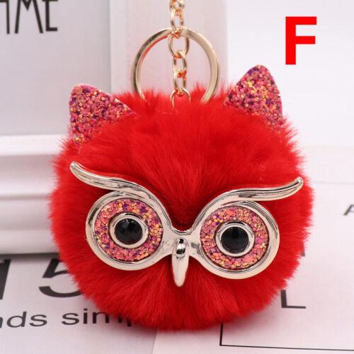 Charm Owl Keychain Fox Faux Fur Cute Pompom Ball Pendant Soft Car Keyring Purse 7