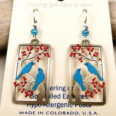 Sienna Sky Earrings 925 Sterling Silver Hook Two Birds in a Cherry Tree Handmade 3