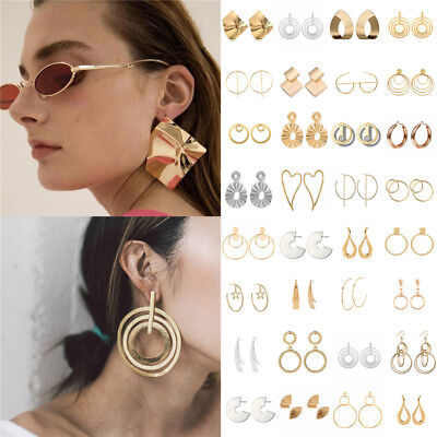 Boho Women Simple Geometric Circle Ear Stud Drop Dangle Earrings Fashion Designs 5
