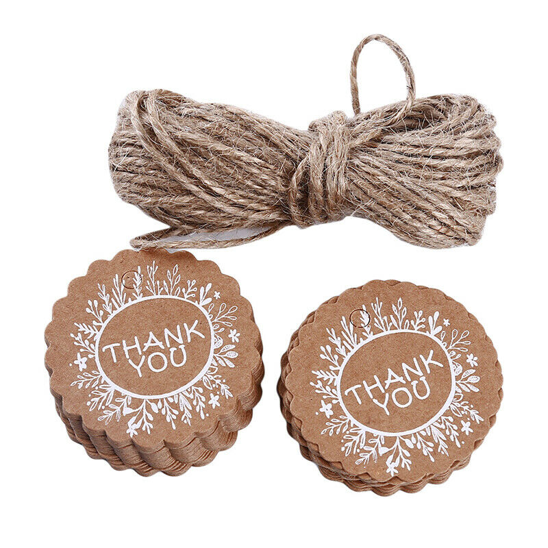 Kraft Paper Hang Tags Wedding Party Favor Label Thank you Gift Cards T 2