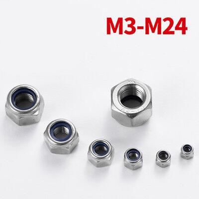 170x Sechskantmuttern Muttern Edelstahl Sechskant Nylon Sicherungsmuttern M3-M12