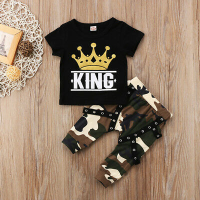 17e9a9ea0 ... USA Toddler Kids Baby Boys Tops T-shirt Camo Pants 2Pcs Outfits Set  Clothes 0