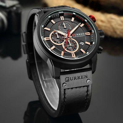 Men Waterproof Leather Aviator Army Military Chronograph Date Quartz Wrist Watch 6