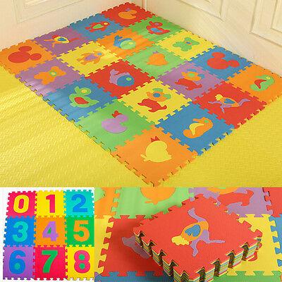 10 x Baby Soft EVA Foam Play Mat Alphabet Numbers Puzzle DIY Toy Floor Tile Game 3