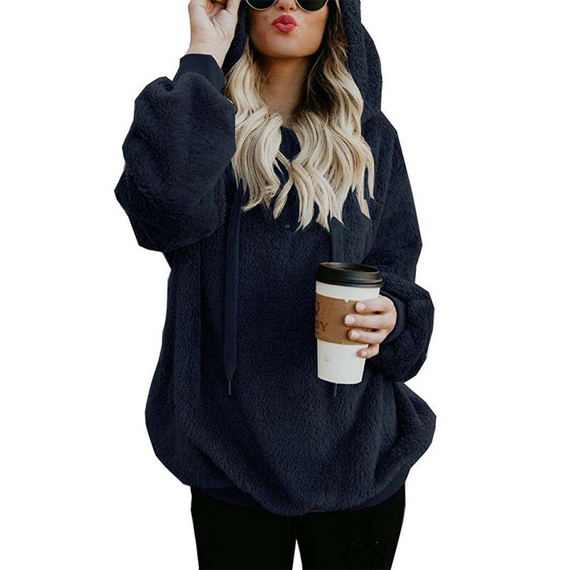 Womens Warm Fleece Hooded Sweatshrit Hoodies Winter Jumper Tops Coat Plus Size 12