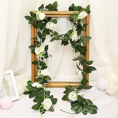 2.5m Artificial Flower Silk Rose Leaf Garland Vine Ivy Home Wedding Garden Deor 8