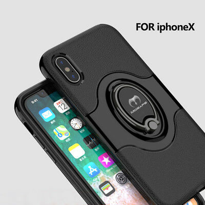 For iPhone XS Max XR X 7 8 Plus Ring Stand Shockproof Hybrid Hard Case Cover 4