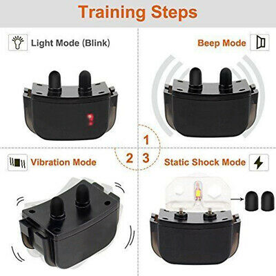 Waterproof 1000 Yard 2 Dog Shock Training Collar Pet Trainer with Remote 4 Mode 6