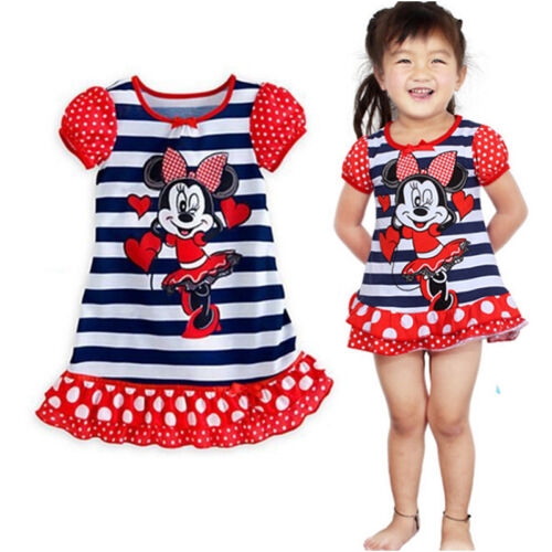 Kids Girls Princess Cartoon Nightie Nightdress Pyjama Sleepwear Nightwear Summer 9