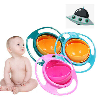 Baby Kids Infant Feeding Dishes Gyro Bowl Universal 360 Rotate Spill Proof Bowl 12