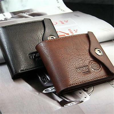 Mens PU Leather Wallet Large Coin Pocket Pouch Bifold Card Holder Purse Bag CS 2