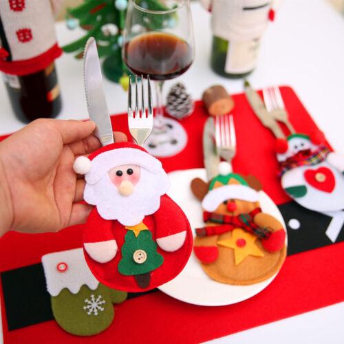 1//4//8X Tischdeko Geschirr Weihnachten Weihnacht Xmas Dekor Besteck Tasche Halter