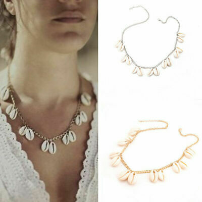 Boho Bohemian Sea Shell Beaded Pendant Chain Choker Necklace Women Beach Jewelry 8