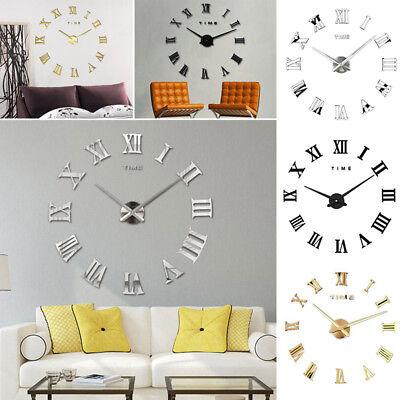 DIY 3D Wall Clock Roman Numerals Large Mirrors Surface Luxury Big Art Clock 4