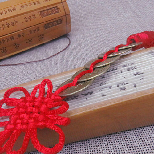 Chinese Feng Shui Protection Lucky Fortune Charm Red Tassel String Tied Coins LH 6