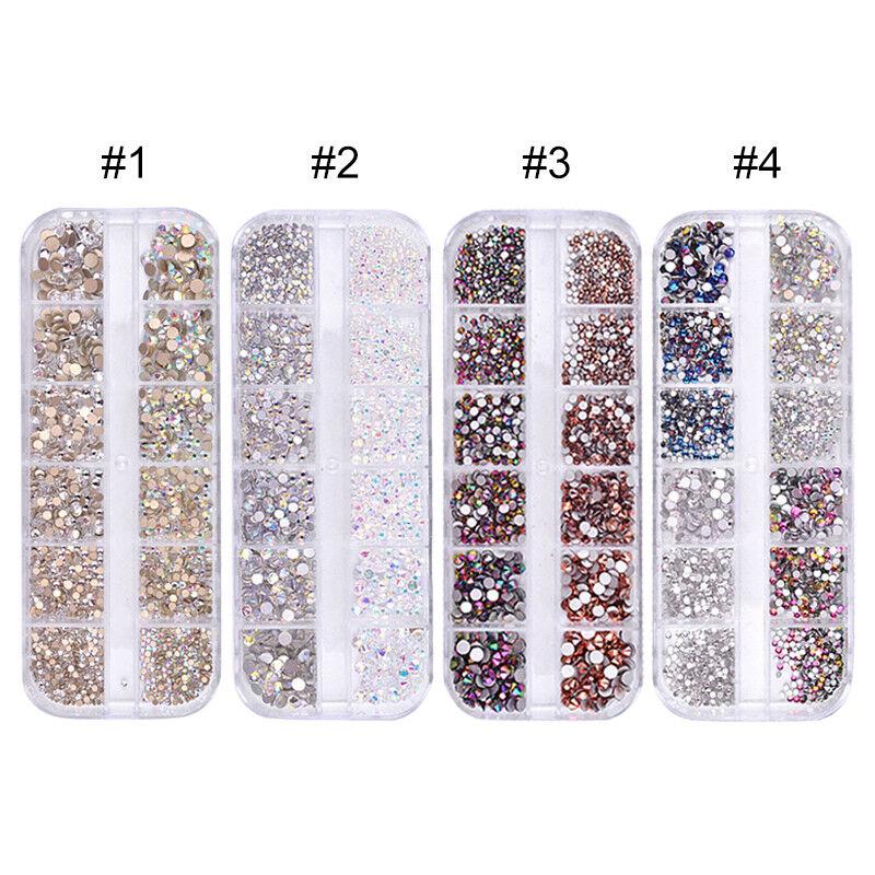 1440pcs Flat Back Nail Art Rhinestones Glitters Diamonds 3D Tip Manicure Decor 3