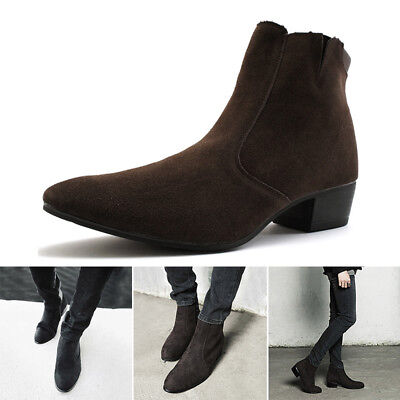 Men/'s British Style High Top Casual Ankle Boots Chukka Pointy Cuban Heel Shoes