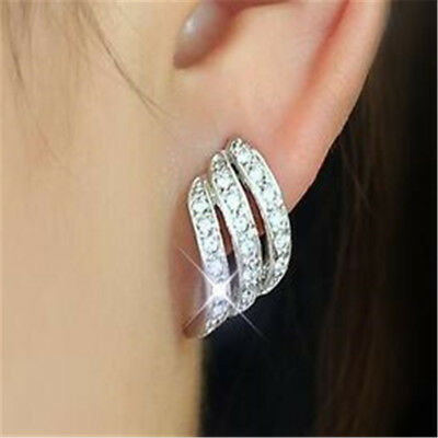 925Silver/Rose Gold Angel Wings White Sapphire-Studded Personality Stud Earrings 2