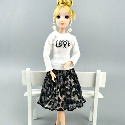 "Fashion Doll Clothes Top Blouses Chiffon Pleated Skirt For 11.5"" Dolls Clothes 12"