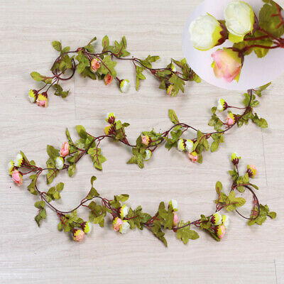 Cute 7Ft Artificial Fake Silk Rose Flower Hanging Garland Garden Wedding Decor 12