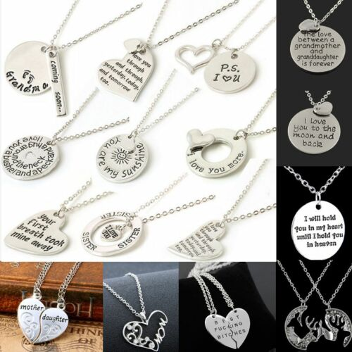 Family couple Heart Love Necklace gold Silver Pendant Women Charm Chain Jewelry 2