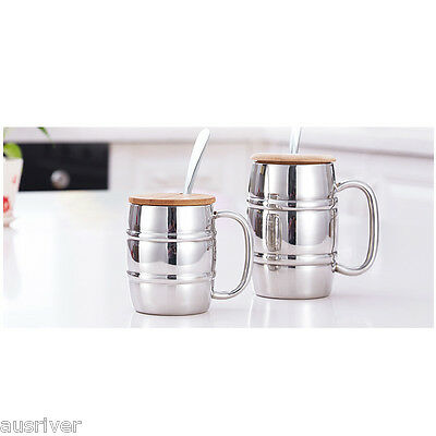430/330ml Double Layers Stainless Steel Beer Cup Water Beverage Large Capacity