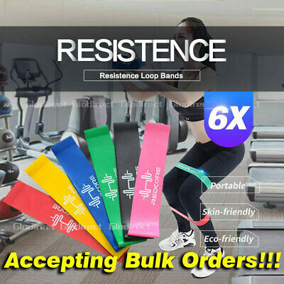6PCS Resistance Bands Power Heavy Strength Exercise Fitness Gym Crossfit Yoga AU 2