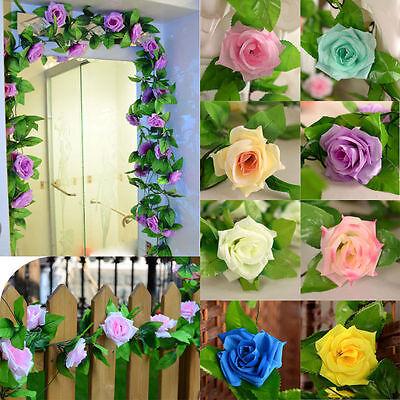 18 Flowers 2X8Ft Artificial Rose Silk Flower Garland Vine Wedding Party Decor 9