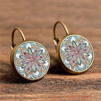 Elegant Round Stud Ear Vintage Women Girls Lady Crystal Flower Hoop Earrings 8