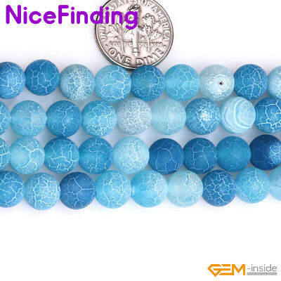 Wholesale Lot Blue Frost Matte Agate Stone Beads For Jewelry Making 6-14mm 15'' 2