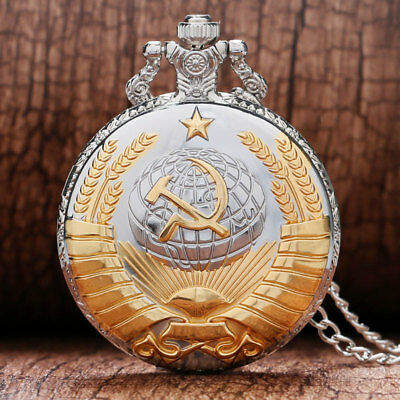 Soviet Pocket Watch Necklace Mens Clock Union USSR Moscow Vintage Putin Russia 7