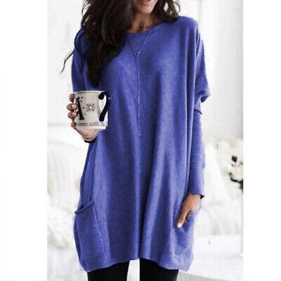 Women Long Sleeve Pocket Autumn Tunic Tops Loose Casual Blouse T-Shirt Plus Size 9