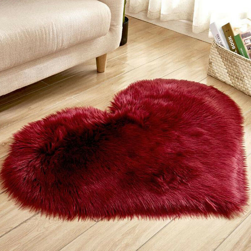 Heart Shaped Fluffy Rugs Anti-Skid Shaggy Area Rug Carpet Home Bedroom Floor Mat 9