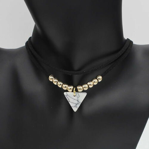 Triangle Stone Choker Double Layer Unicorn Necklaces for Women Bead Necklace LG 2