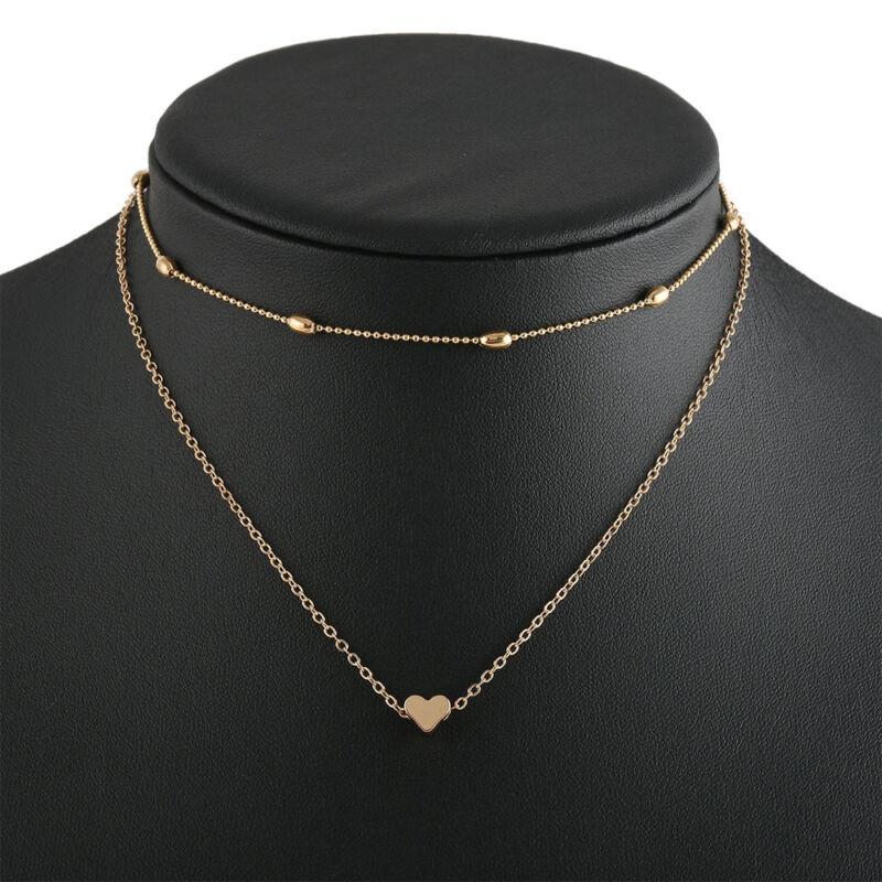 Women Simple Double Layers Chain Heart Pendant Necklace Choker Fashion Jewelry 8