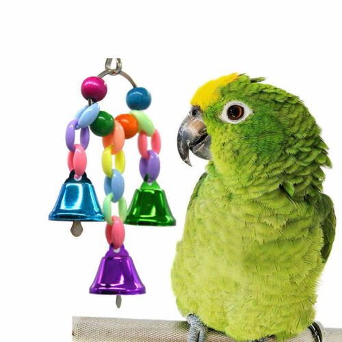 Bird Parrot Toy Hanging Swing Cage Rope Pet Chew Bell Feeder Parakeet Budgie New