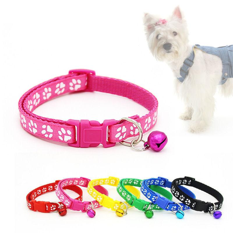 6Colors Nylon Fabric Cat Dog Pet Collar With Bell Footprint Pattern Kitten Puppy