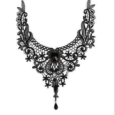 Gothic goth Choker Halskett Halsband Spitze lace schwarz Collier Kette Kragen TG